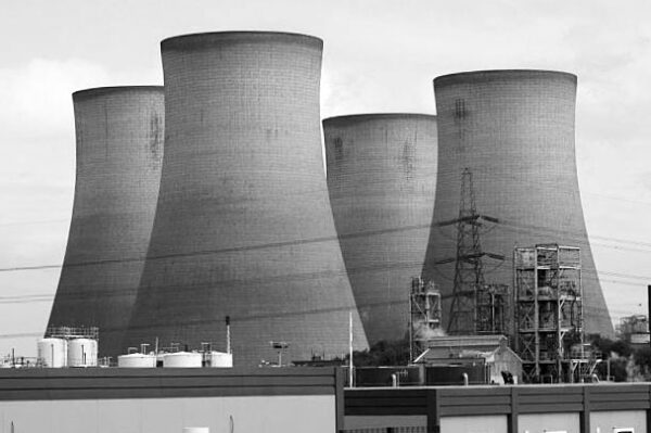 Black and white image of cooling towers